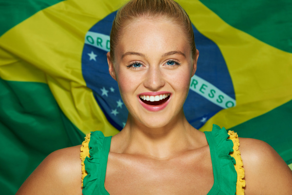 young woman in front of brazilian