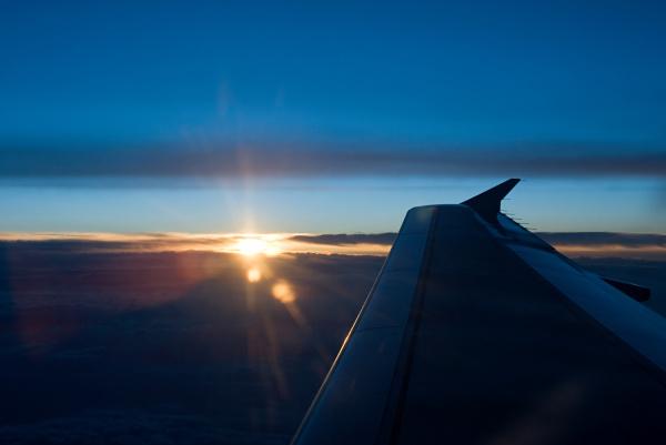 sunset and aeroplane wing