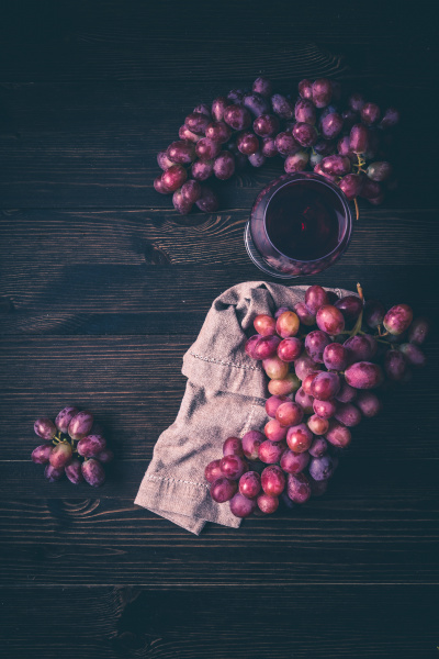 grapes and a glass of wine