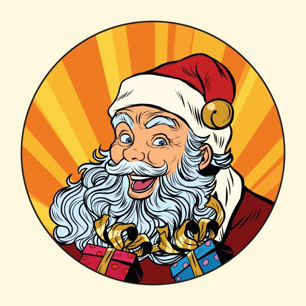 joyful santa claus with gifts