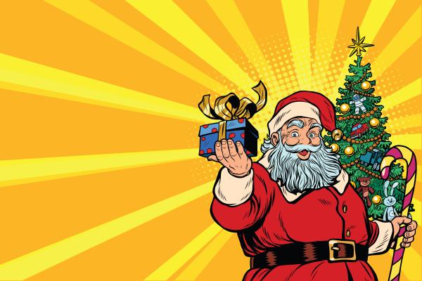 santa claus christmas tree and gift