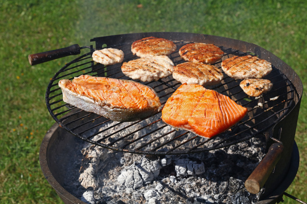 chicken or turkey burgers and salmon