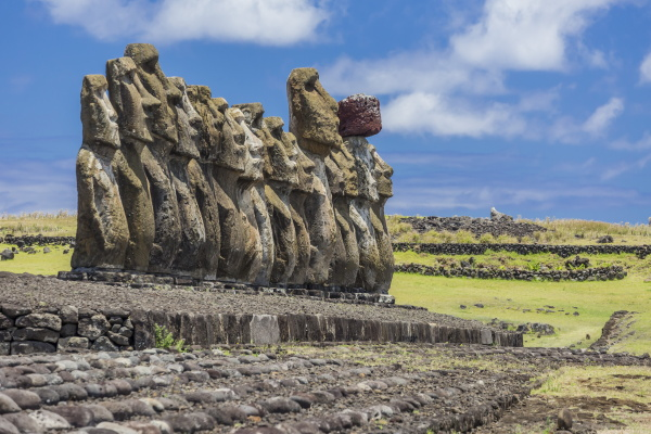 fifteen moai at the restored ceremonial