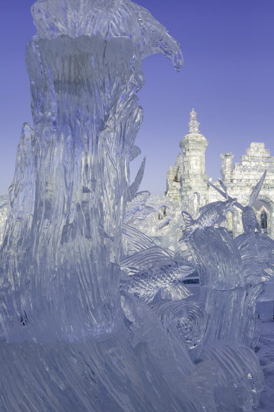 spectacular ice sculptures at the harbin