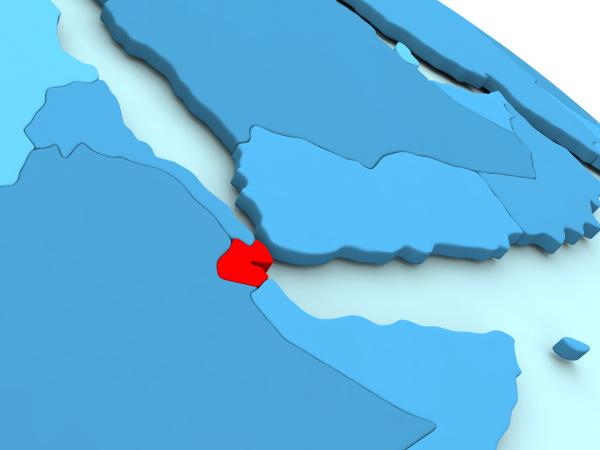 djibouti in red on blue globe