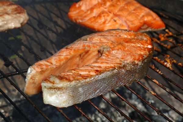 salmon fish steak barbecue grill cooking