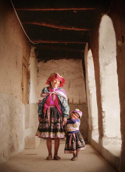 peruvian woman and child