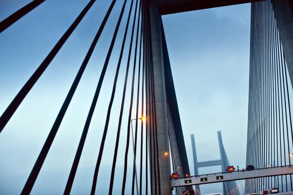 cables on a urban suspension bridge