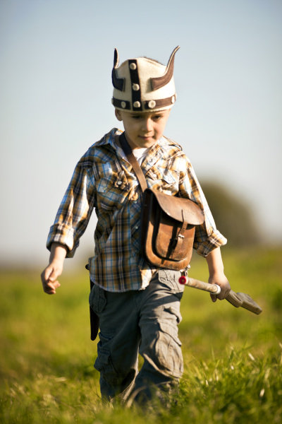 boy dressed up as a viking
