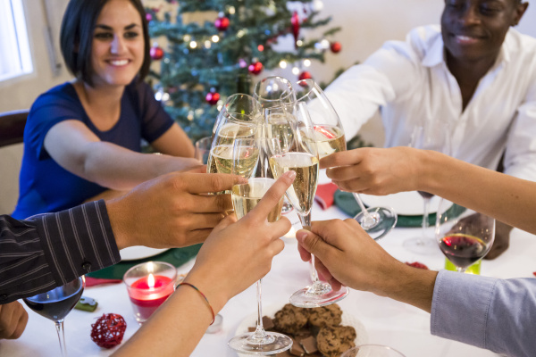 friends toasting with champagne during a