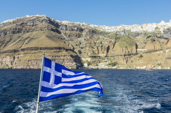 greece santorini greek flag with fira