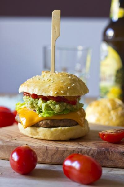 sesame roll with burger avocado cream