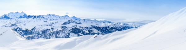 panorama of snow mountain winter high