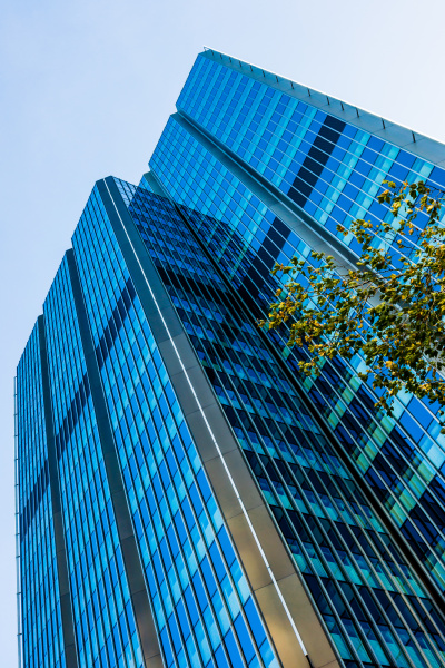 blue skyscraper facade office buildings modern