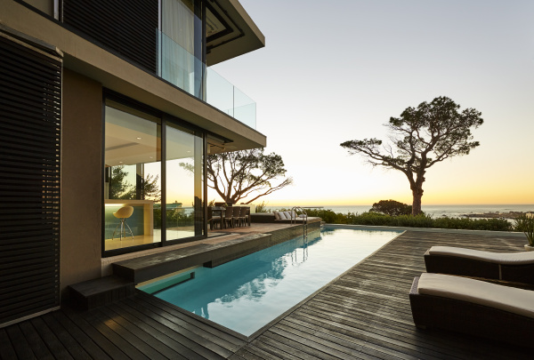modern luxury home showcase patio and