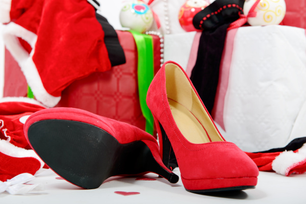 christmas gift boxes and red woman