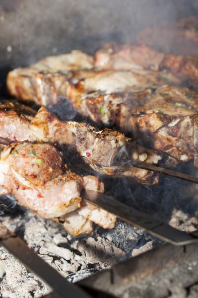 cooking kebab close up