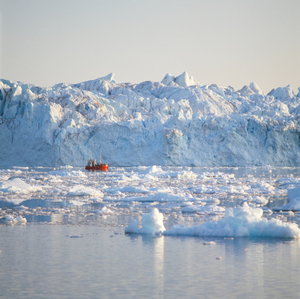 fishing boat in icy waters