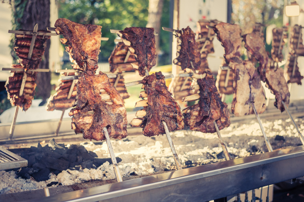 traditional argentinian asado roasted lamb grilled