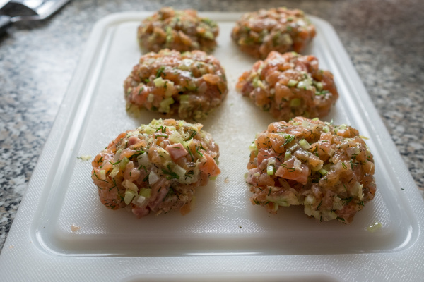 meatballs raw from salmon celery and