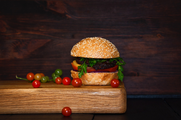 beef burger with cutlet and vegetables