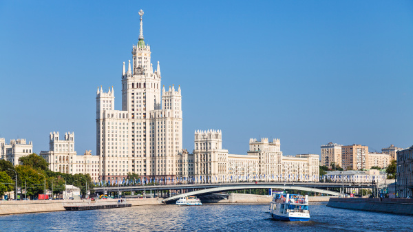 moskva river and tower building in
