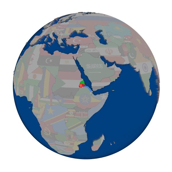 eritrea on political globe