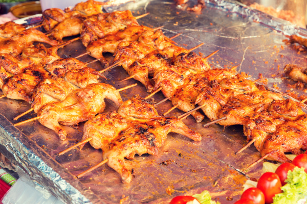 chicken grill at street market