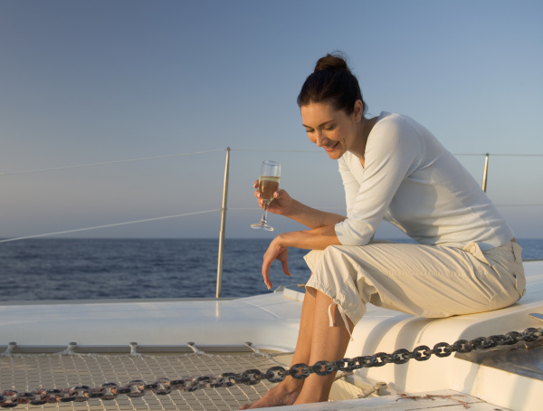 a woman relaxing with a drink