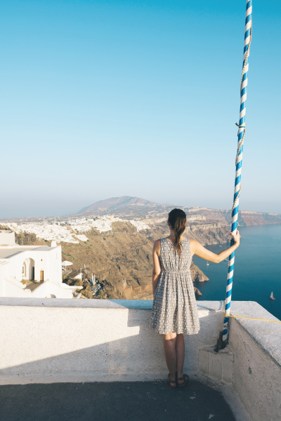 greece santorini thira woman looking at