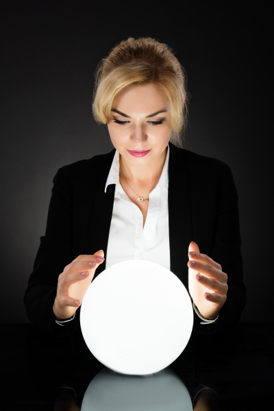 businesswoman looking into the future at