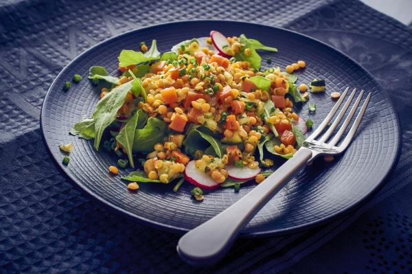 red lentil salad with radish