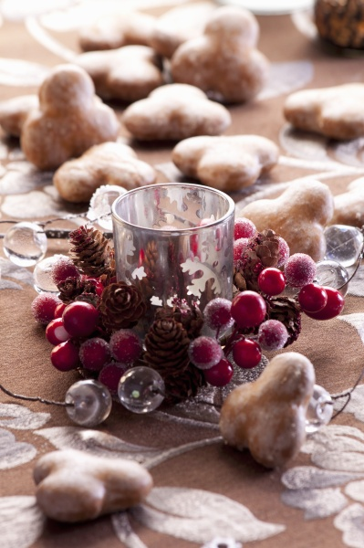 a christmas decoration with a candle