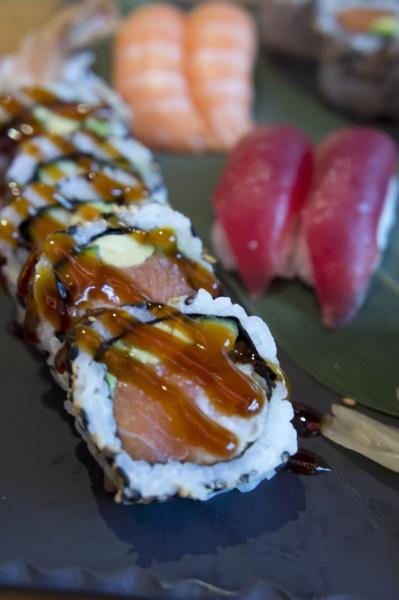 maki sushi with salmon avocado egg
