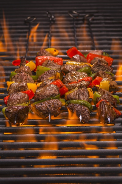 beef skewers with peppers on a