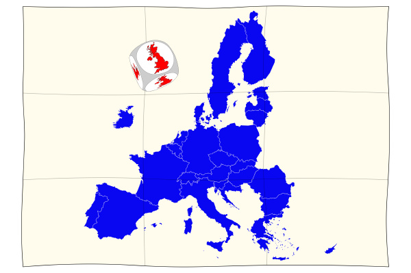 map of europe with brexit cube