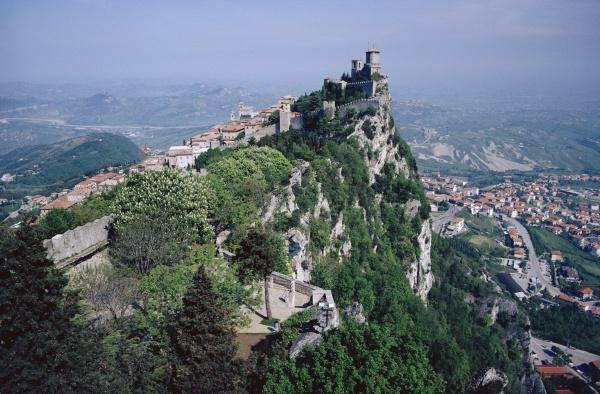castle atop mountain peak san