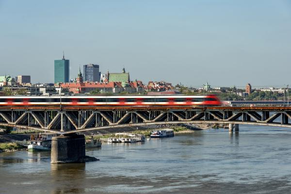 poland warsaw cityscape with poniatowski bridge