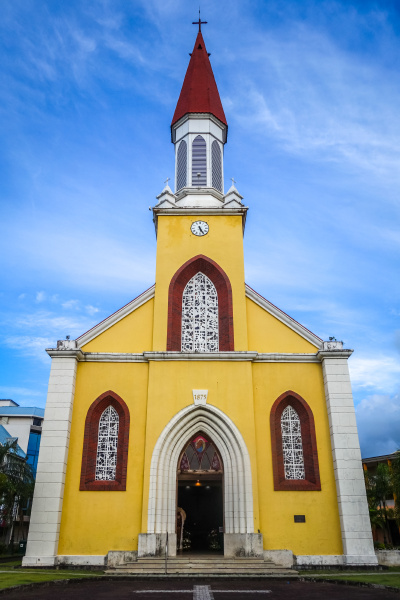 papeete city cathedral tahiti island