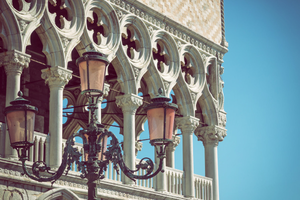 detail of lamp and columns in