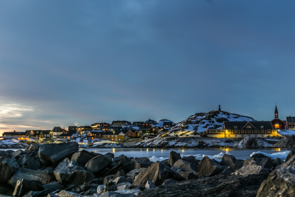 nuuk city old harbor sunset view