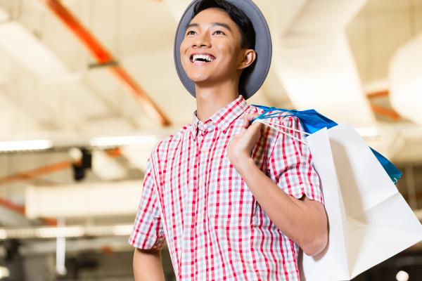 asian young man shopping fashion in
