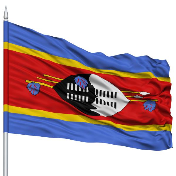 swaziland flag on flagpole