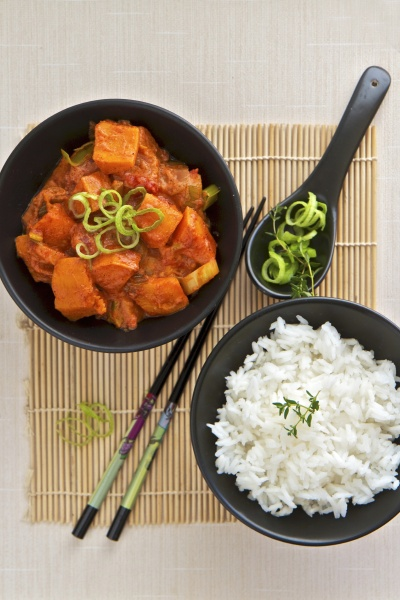thai red curried butternut squash with