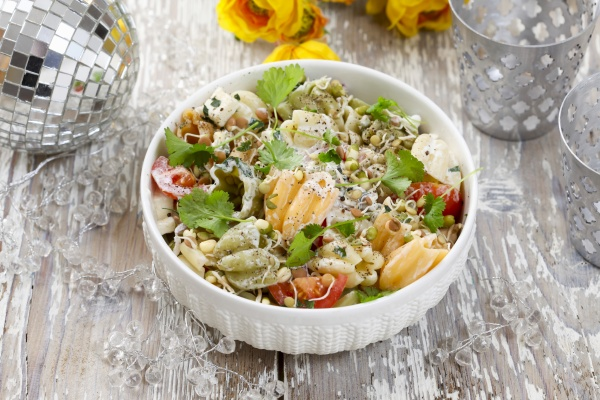 pasta salad with tomatoes and shoots
