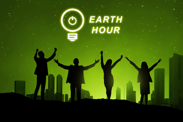 silhouette of business people with earth