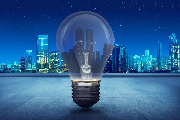 light bulb on building balcony on