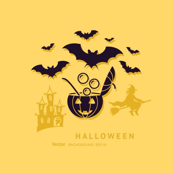 digital vector yellow black happy halloween
