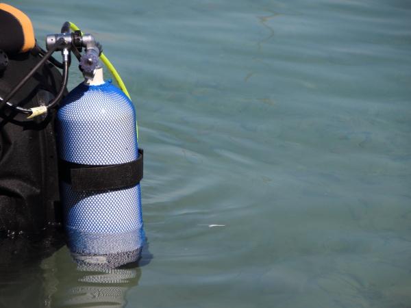 scuba diving equipment on backside of