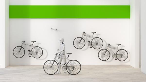 robot renting a bike 3d